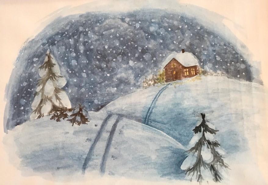 Akvarellutstilling på biblioteket